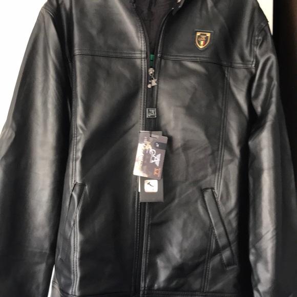 eb65b92cb Italian A Collezioni faux black leather jacket NWT